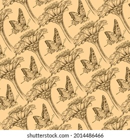Hand-drawn background pattern with butterfly and zinnia flower. Dark beige background color. Linear pattern with detailed illustration of butterflies and zinnia flowers.