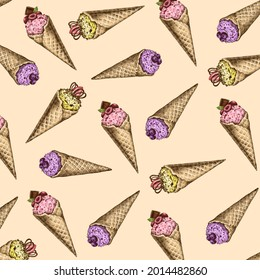 Hand-drawn background pattern with ice creams. Cream background color. Colorful pattern with detailed illustration of ice creams. Three fresh tastes - strawberry, blueberry and lemon.