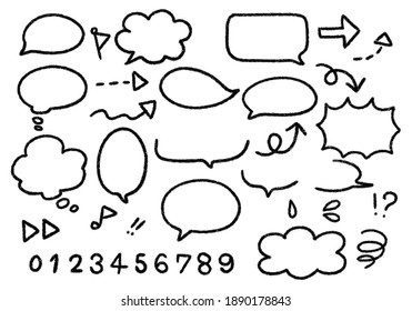 Hand-drawn balloon illustration set, black and white line drawing