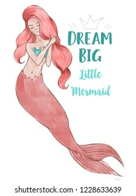 Hand-drawn beautiful mermaid character illustration. Sea template for poster, card, invitation. Dream big