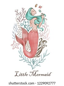 Hand-drawn beautiful mermaid character illustration. Sea template for poster, card, invitation.