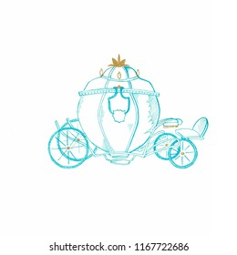 Handdrawn blue Cinderella's coach. Suitable for t-shirts, mugs, greeting cards, wrapping paper, posters, pillows