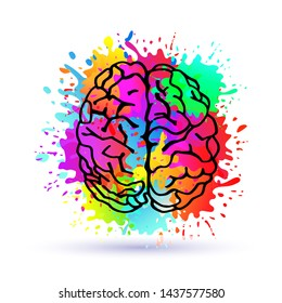 Handdrawn Brain.Logo silhouette isolated on colorful watercolor splashes of paint.Top view.Design template for business cards,apps and websites.Illustration isolated on white background