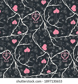 Hand-drawn branches with ribbons and hearts half-drop seamless repeat pattern