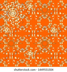 Hand-drawn colored mandala on a orange and brown colors. Abstract pattern.