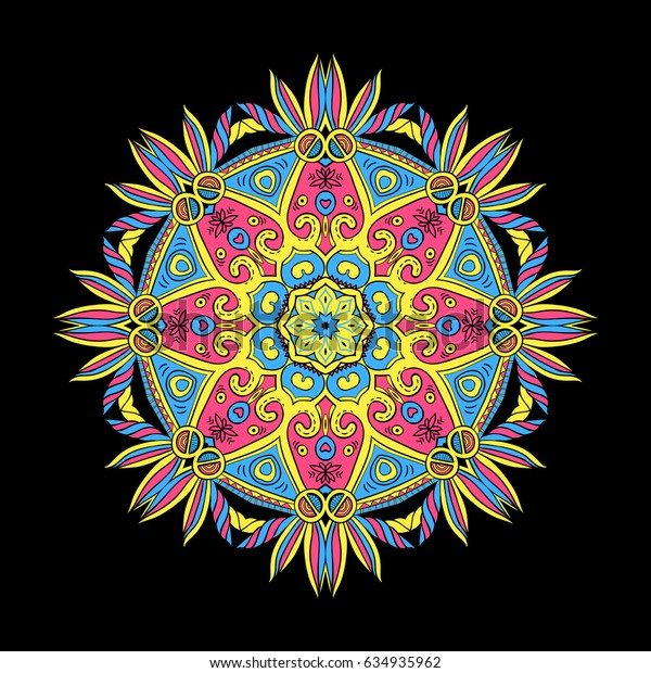 Hand-drawn colorful mandala, bright lace ornament round pattern, vintage decorative element, raster copy of vector file