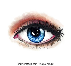 Hand-drawn coloured pencil digital illustration of mesmerising blue human female eye. White skin, eyelid, lashes, make-up on. Deep look of a pretty young woman. Sclera, apple of eyes, blue iris.