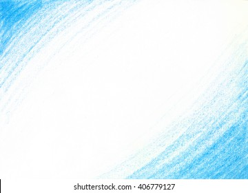Hand-drawn crayon scribble background in blue colors. aquamarine wax pencil. Frame design element. White texture with triangular edges. Nautical, marine, winter theme.