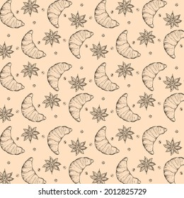 Hand-drawn croissant illustration. Background pattern with croissants, coffee beans and anise stars.