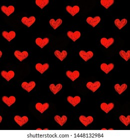 Hand-drawn doodle seamless pattern with red hearts on black background