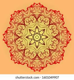 Hand-Drawn Ethnic Mandala. Circle Lace Ornament.  Illustration. For Coloring Book, Greeting Card, Invitation, Tattoo. Red, orange sunrise color.