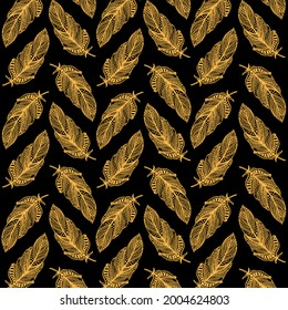Hand-drawn feather illustration. Ornate pattern with gold feathers on black background.