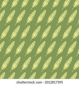 Hand-drawn feather illustration. Ornate pattern with yellow feathers on delicate green background.