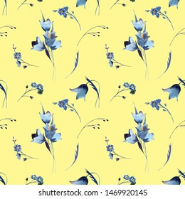 Hand-drawn flower watercolor illustration.   Vintage yellow floral background with cute delicate bouquets of blue bells and herbs. Watercolor seamless pattern with wildflowers.