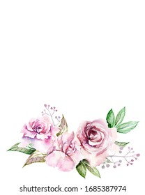 Hand-drawn greeting card in vintage style with watercolor pink roses and leaves, buds on a white background for use in design, invitations, cards, covers
