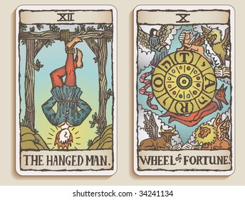 Hand-drawn, grungy, textured Tarot cards depicting the Hanged Man and the Wheel of Fortune.