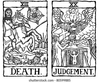 Hand-drawn, grungy, textured Tarot cards depicting the concept of Death and Judgment.