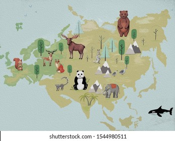 Hand-drawn illustration for children, map of Eurasia with animals, oceans, mountains, islands. drawings for early development, sketch watercolor painting.