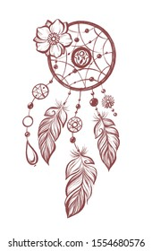 Handdrawn illustration: dream catcher with feathers, beads and flower in mehendi style, hamsa hand in the center . Isolated on white background