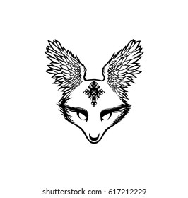 A hand-drawn illustration of a fox with large wings instead of ears, black and white, raster graphics, a cross on the muzzle.