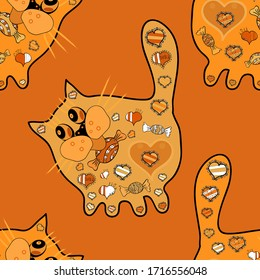 Hand-drawn illustration. Lovely cat with hearts. Seamless. For coloring book, print, tatoo. Anti stress freehand sketch with doodle and zentagle elements. Picture in yellow, orange and black colors.