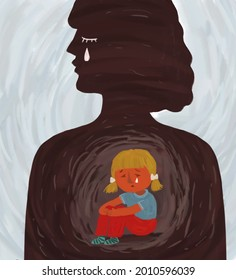 Hand-drawn illustration, a metaphor for the psychological problems of the inner child. Silhouette of a woman with a little girl inside