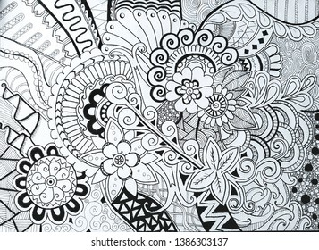 Hand-drawn illustrations, doodle, flowers, illustration. Doodles pattern art.