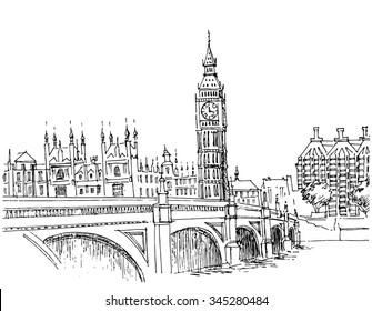 hand-drawn landscape of the city