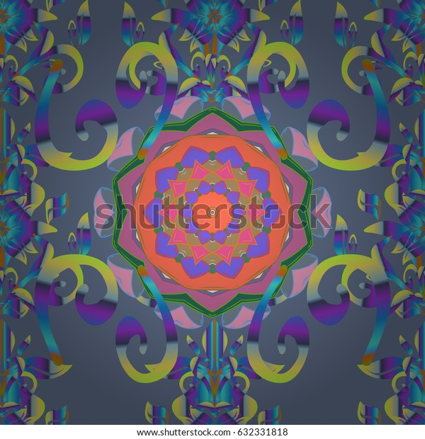 Hand-drawn mandala with colored abstract pattern on a blue background. Bag design.
