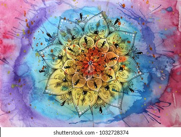 Hand-drawn mandala graphic on the background of the watercolor splashes