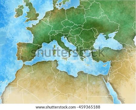 Handdrawn Map Mediterranean Europe Africa Middle Stockillustration ...