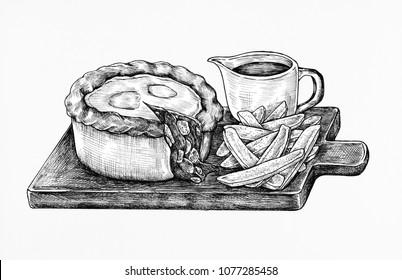 Hand-drawn minced beef pie