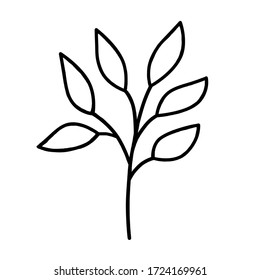 A hand-drawn monochrome illustration of a plant with leaves. Vector illustration about environmental problems. Sketch element on a white background