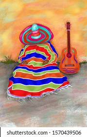 Hand-drawn multicolor illustration of imaginary abstract figure of Mexican  mariachi musician in poncho and  sombrero, which is sleeping during siesta, near the wall, on the ground, next to his guitar