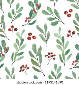 Hand-drawn pattern with Christmas branches elements.Hand painted watercolor seamless pattern.