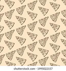 Hand-drawn pizza illustration. Beige background pattern. Pizza slice.