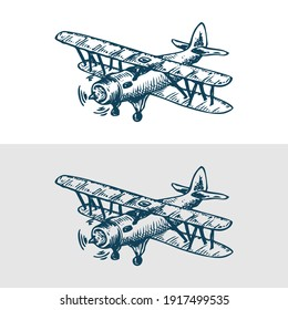 Handdrawn Propeller Plane Black And White