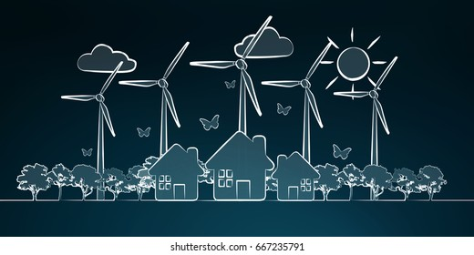 Hand-drawn renewable energy sketch on blue background