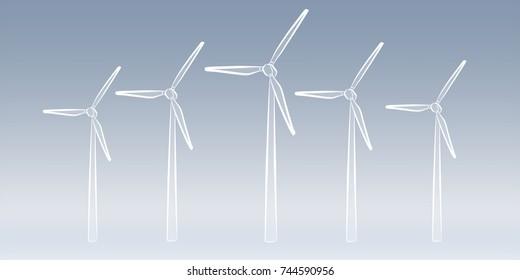 Hand-drawn renewable energy sketch on grey background