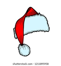 Hand-Drawn Santa Claus Hat Christmas Accessory, isolated on white