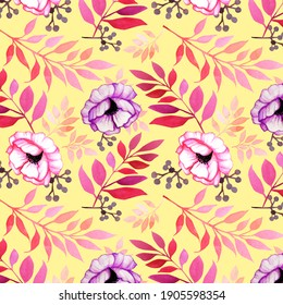 Hand-drawn seamless pattern with anemones, twigs and berries