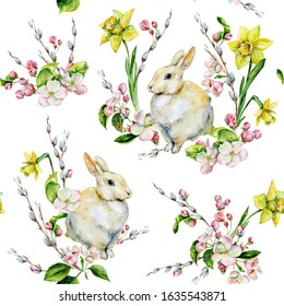 Hand-drawn seamless tileable pattern watercolor for Easter holiday with bunny, apple tree flowers, pussy-willow and daffodils. Rabbit bohemian style spring season illustration for textiles, decor.