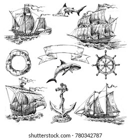 Hand-drawn set of retro pictures on  a marine theme: old sailboats, sharks, helm, anchor, lifebuoy
