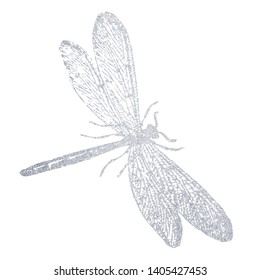 A hand-drawn silver dragonfly. Illustration on white background.