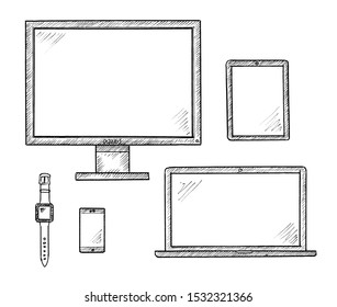 Handdrawn sketch of multimedia devices - computer, tablet, smartphone, laptop, smatwatch.