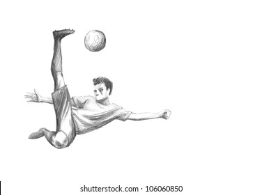 Hand-drawn Sketch, Pencil Illustration of a Football, Soccer Player   High Resolution Scan, Decent Copy Space