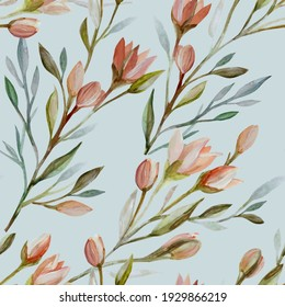 Hand-drawn sketched seamless pattern  of spring blossoming flowers, buds, leaves, twigs
