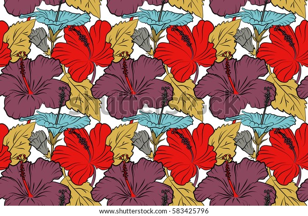 Hand-drawn tropical style texture. Raster seamless pattern of hibiscus flowers on a white. Ideal for web, poster, fabric or textile. Creative universal floral pattern in yellow, red and purple colors.