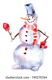 Handdrawn vintage Snowman, watercolor Christmas illustration isolated on white background.