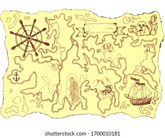 hand-drawn vintage yellow map of  fictional world with charred edges.Label with empty space for your text here,wheel,sailing ship,treasure chest buried in sand,anchors,Skull Island palm trees, rivers